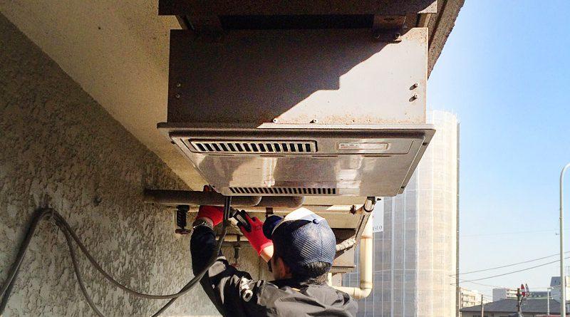 [横浜市鶴見区]天井吊り下げ設置の給湯器の交換工事[GQ-1639WS]